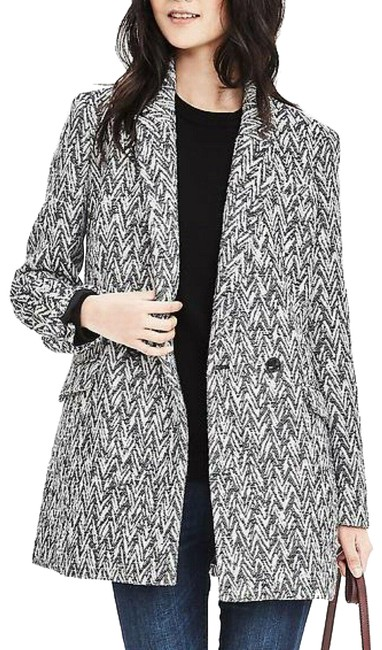 Item - Grey & White Chevron Jacquard Coat Size 12 (L)