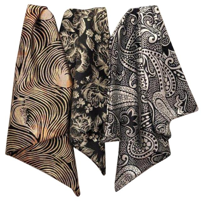 Item - Silver Black Ascot And Silky Bundle (3) Scarf/Wrap