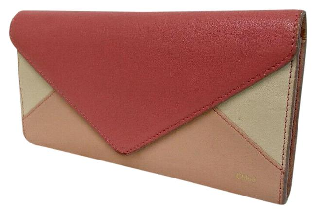Item - Salmon/Pink/Ivory Color Block Leather Wallet