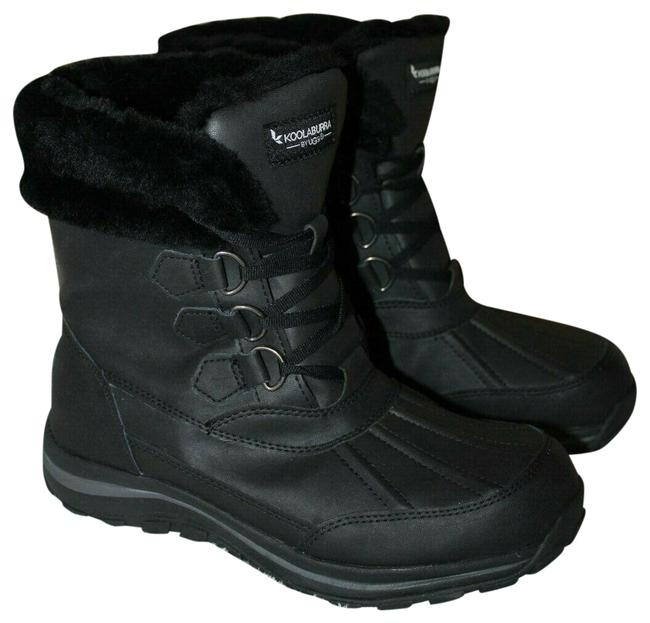 Item - Black Koolaburra Neda Leather Snow Fur Lined Boots/Booties Size US 6 Regular (M, B)