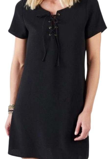 Item - Black Lace-up Front Sleeve Shift Short Casual Dress Size 4 (S)