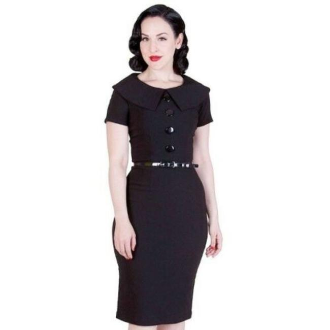 Item - Black Rita 50s Vintage Style Pencil Wiggle Mid-length Work/Office Dress Size 4 (S)