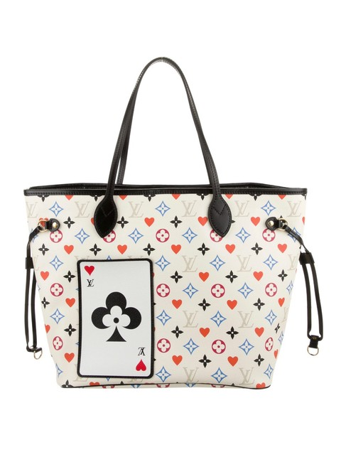 Item - Neverfull Game On White Coated Canvas Tote