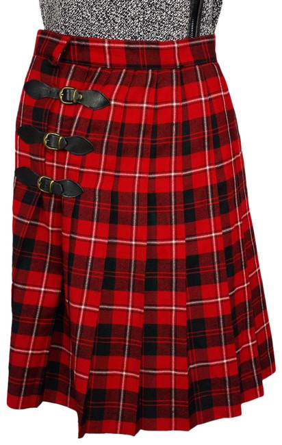 Item - Red For Sanyo Wool Plaid Leather Buckle Skirt Size 12 (L, 32, 33)
