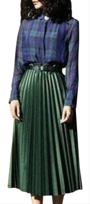 Item - Green Faux Leather Pleated High S New Skirt Size 4 (S, 27)