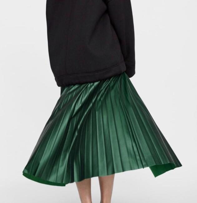 Zara Green Faux Leather Pleated High S New Skirt Size 4 (S, 27) Zara Green Faux Leather Pleated High S New Skirt Size 4 (S, 27) Image 5