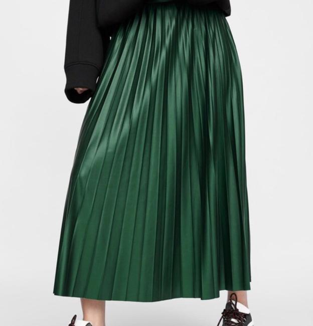 Zara Green Faux Leather Pleated High S New Skirt Size 4 (S, 27) Zara Green Faux Leather Pleated High S New Skirt Size 4 (S, 27) Image 6