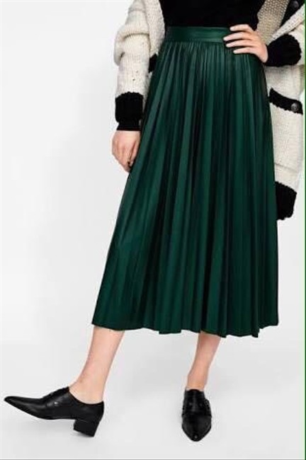 Zara Green Faux Leather Pleated High S New Skirt Size 4 (S, 27) Zara Green Faux Leather Pleated High S New Skirt Size 4 (S, 27) Image 7