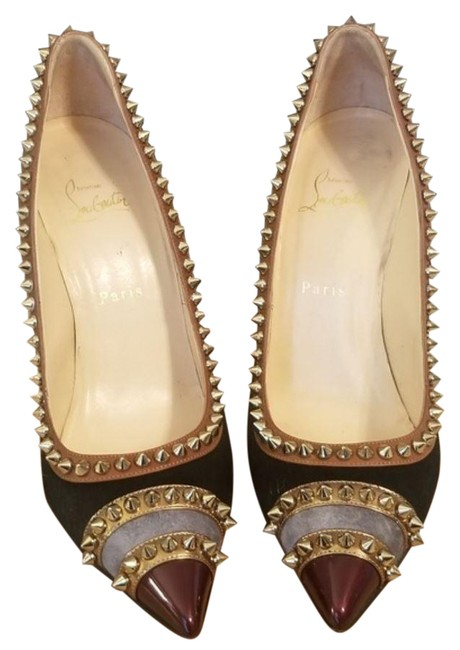 Item - Burgundy Black Gold Grey Malabar Hill Studded Mixed-media (Pre-owned) Pumps Size US 10 Regular (M, B)