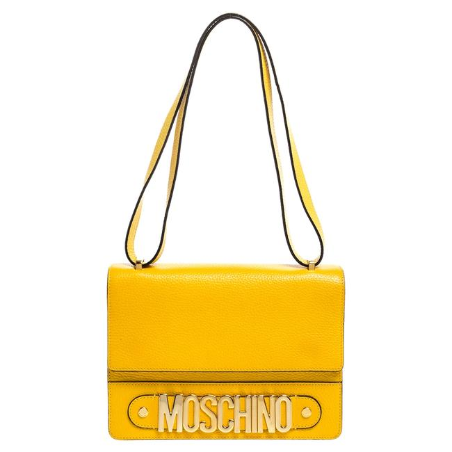 Item - Mustard/Yellow Grained Leather Logo Flap Yellow Shoulder Bag