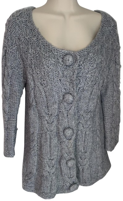 Item - Grey Cable Knit Cardigan Size 12 (L)