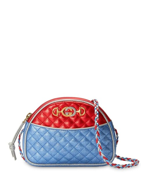Item - Mini Laminated Leather Red and Blue Cross Body Bag