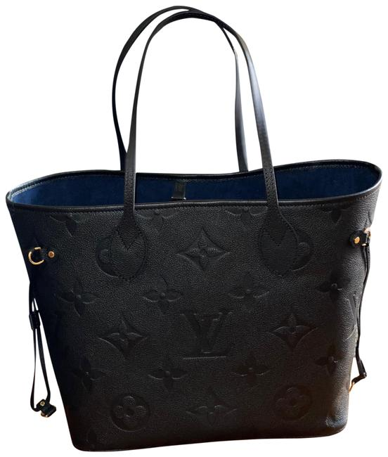 Item - Neverfull Mm Monogram Empreinte 2021 Black/Blue Leather Tote