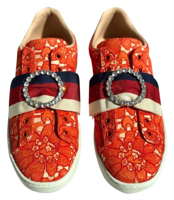 Item - Orange and Beige Lace Crystal Ace Web Sneakers Size EU 36.5 (Approx. US 6.5) Regular (M, B)