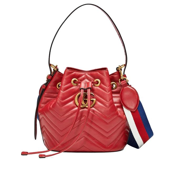 Item - Shoulder Bucket Bag Marmont Gg 2.0 Matelassé Hibiscus Red Leather Tote