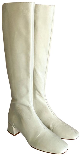 Item - Cream White Leather Knee High with Block Heel and Square Toe Boots/Booties Size US 8 Regular (M, B)