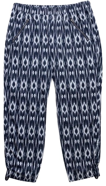 Item - Blue White Ikat Cinch Ankle Athleisure Jogger Pants Activewear Bottoms Size 14 (L)