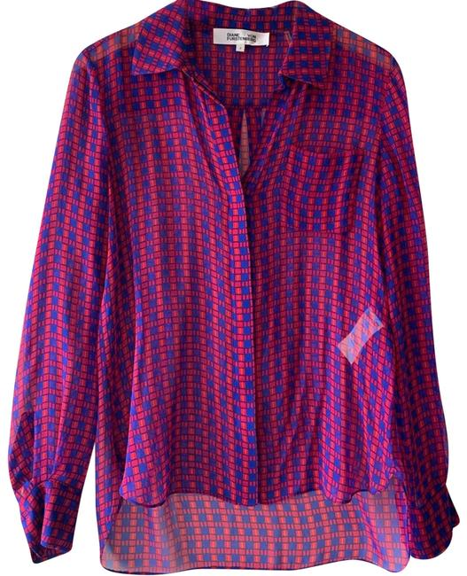 Item - Red Sheer Checkered Silk Blouse Size 2 (XS)