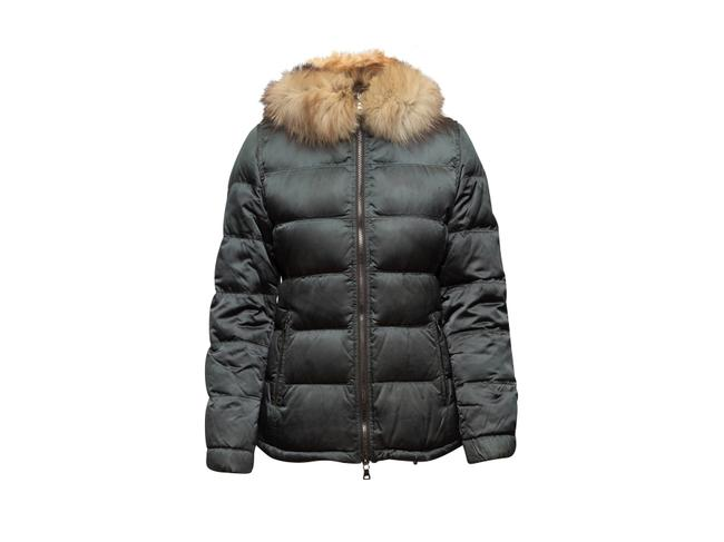 Item - Army Green Nylon Fur-trimmed Puffer Jacket Coat Size 4 (S)