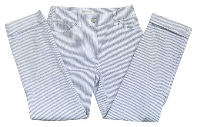Item - White Coated Pinstripe Cuffed Low Rise Pants Capri/Cropped Jeans Size 28 (4, S)