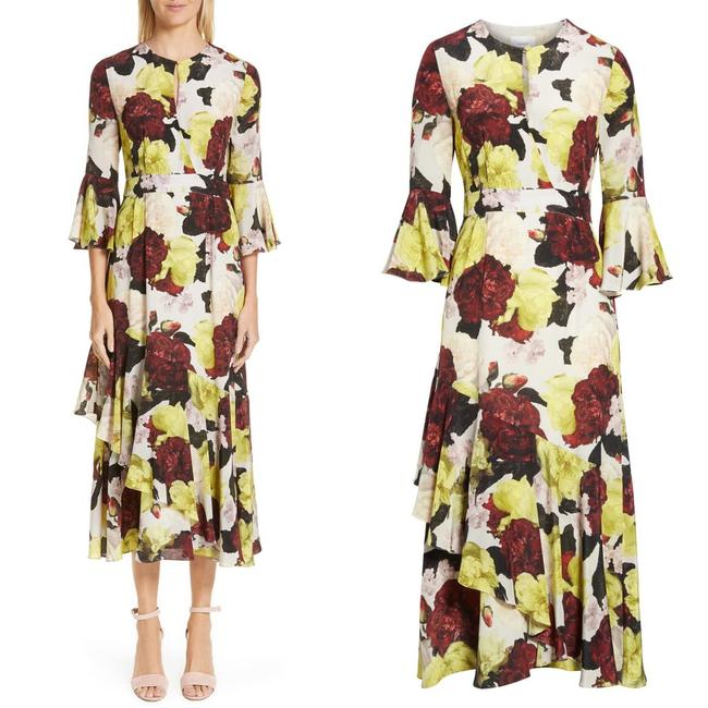 Item - Multi Color Bell Sleeve Ruffle Floral Print Silk Mid-length Cocktail Dress Size 8 (M)