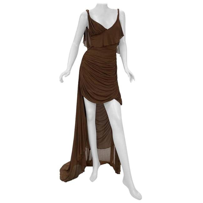 Item - Chocolate Brown S/S 2003 Vintage Tom Ford For Greek Goddess Silk Gown. In Museum Long Night Out Dress Size 6 (S)