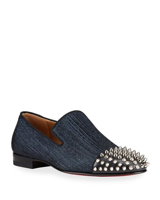 Item - Blue Spooky Flat Navy Denim Leather Cap Silver Spike Loafers 43 / Us 10 Shoes