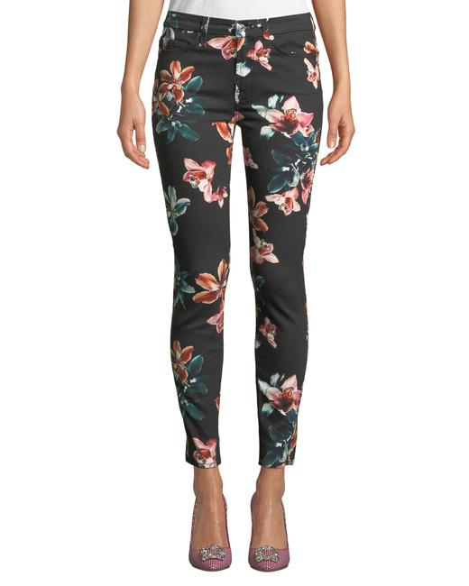 Item - Black/Orchid Bloom Floral Ankle Skinny Jeans Size 23 (00, XXS)