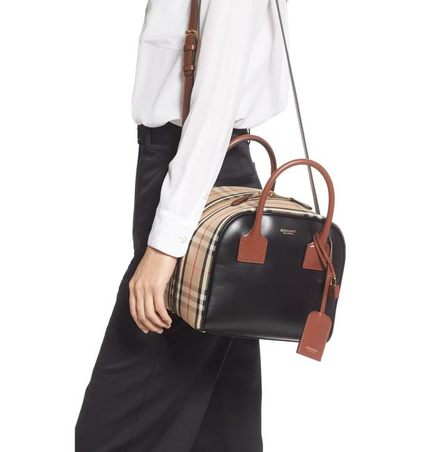 Item - Small Cube Vintage Check Satchel Archive Beige Leather Cross Body Bag