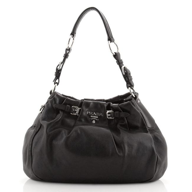 Item - Pleated Soft Calf Large Black Leather Hobo Bag