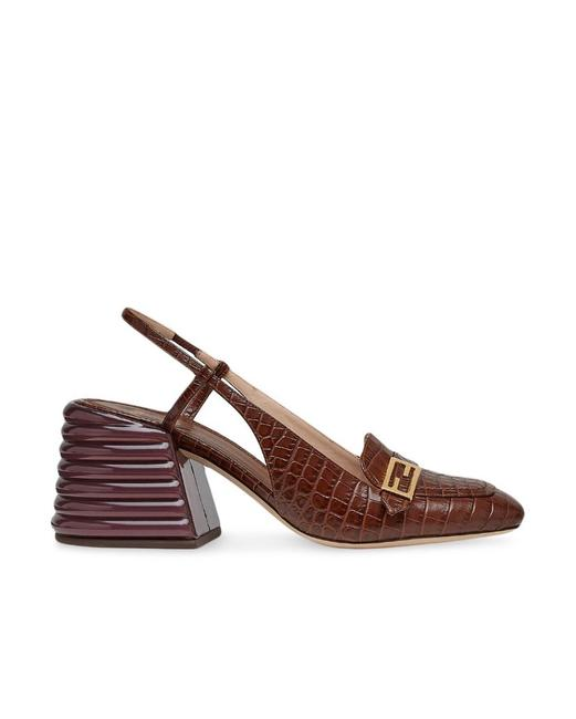 Item - Dark Brown Croc-embossed Leather Slingback Pumps Size EU 35.5 (Approx. US 5.5) Regular (M, B)