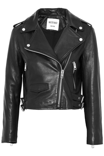 Item - Black with Tag Liz Leather Crop Moto Jacket Size 12 (L)