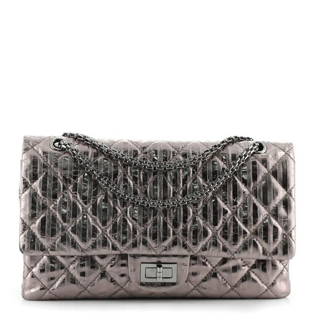 Item - 2.55 Reissue Classic Flap Rayures Reissue Quilted Aged Calfskin 226 Metallic Silver Leather Shoulder Bag