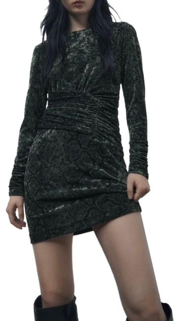 Item - Dark Green Draped Mini Velvet Short Casual Dress Size 6 (S)