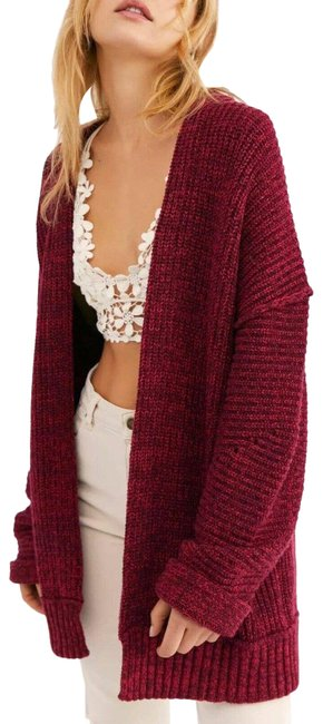 Item - Red High Sweater Plum Blossom Combo Cardigan Size 6 (S)