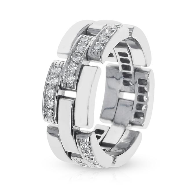 Item - Panthere White Diamond Link & Chain-style Wedding Band 18k Wh Ring