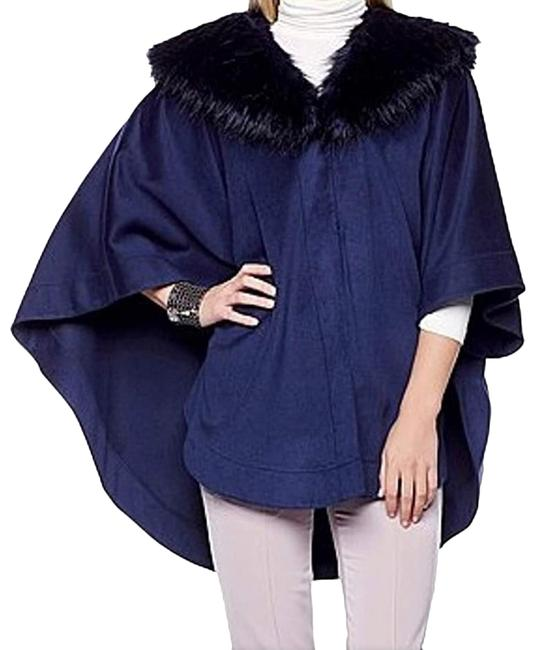 Item - Navy Faux Fur Collar Poncho/Cape Size 2 (XS)
