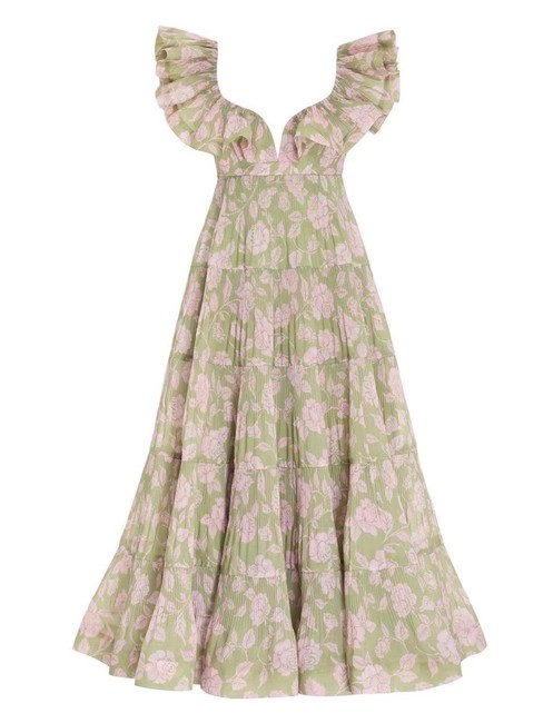 Item - Olive Pink Rose Lovestruck Pleated Ruffle Long Casual Maxi Dress Size 4 (S)