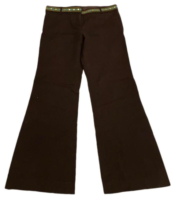 Item - Brown Embroidered Twill Pants Size 4 (S, 27)