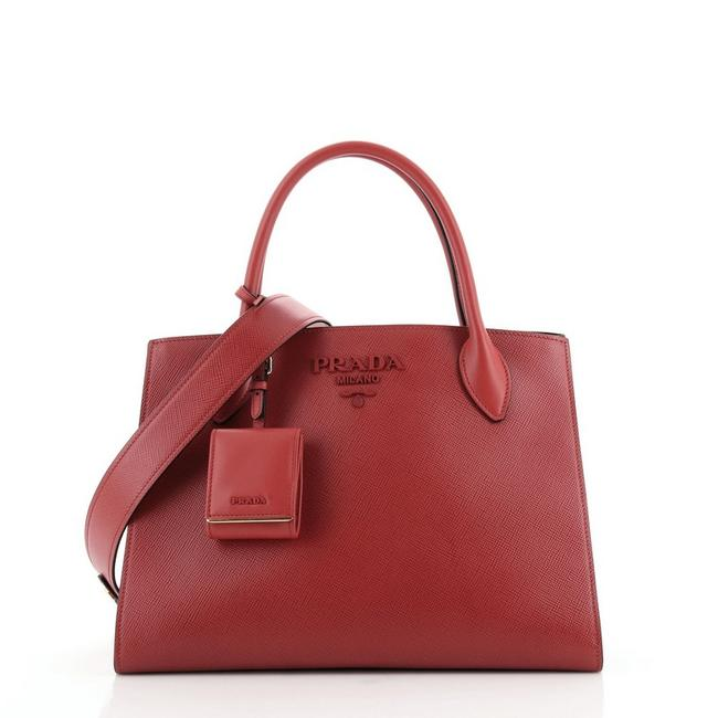 Item - Monochrome Saffiano with City Calf Small Red Leather Tote
