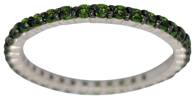 Item - Green 1.00cttw Round Chrome Diopside Eternity 2mm Sterling 925 Band Size 10 Ring