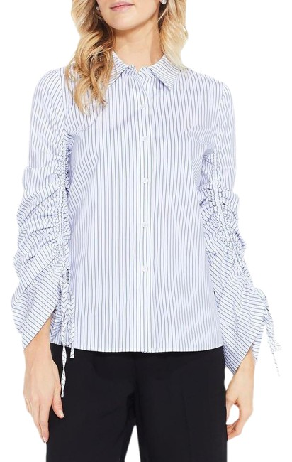 Item - Blue Simple Stripe Ruched Sleeve Shirt Button-down Top Size 6 (S)