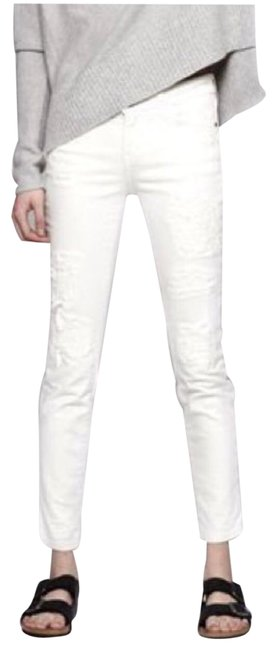 Item - Dirty White Distressed The Stiletto Skinny Patch Repair Capri/Cropped Jeans Size 26 (2, XS)