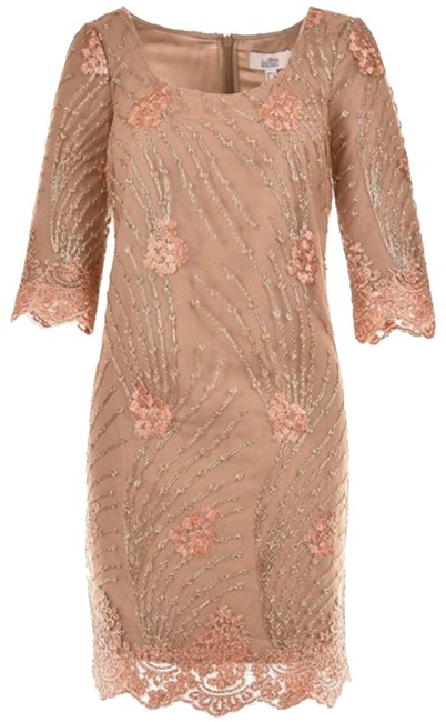 Item - Tan Floral Embroidered Cocktail Short Casual Dress Size 6 (S)
