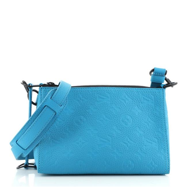 Item - Messenger Triangle Monogram Taurillon Blue Leather Cross Body Bag