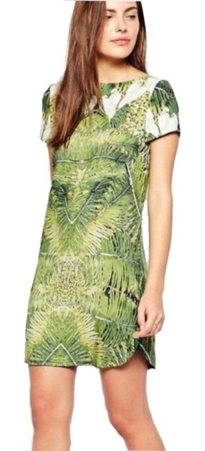 Item - Green Dondri Tropical Dove Print Shift Short Casual Dress Size 2 (XS)