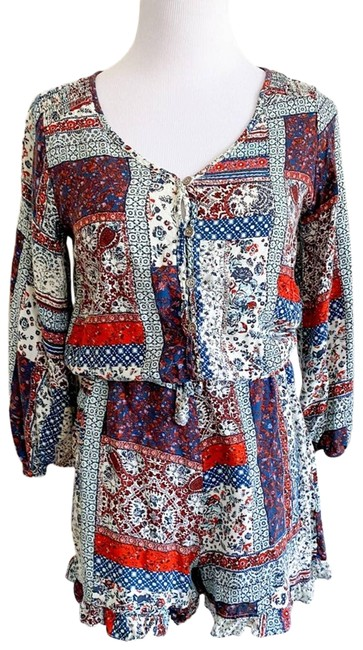 Item - Red Patchwork Print Long Sleeve Romper/Jumpsuit