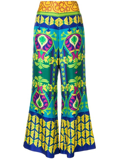 Item - Green Psychedelic Floral Print Silk Leg Trousers Pants Size 8 (M, 29, 30)