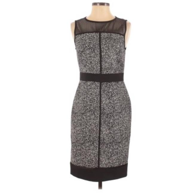 Item - Black Faux Leather Trim Perforated Work/Office Dress Size 0 (XS)