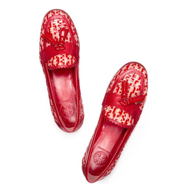 Item - Red Careen Woven Leather Raffia Runway Tassels Loafers New Flats Size US 9.5 Regular (M, B)